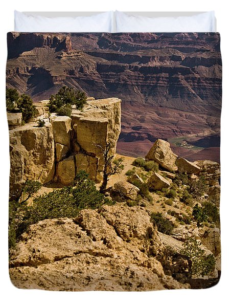 Duvet Cover featuring the photograph Yaki Point 3 The Grand Canyon by Bob and Nadine Johnston