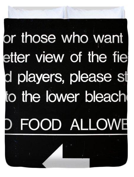 Yankee Stadium Lower Bleachers Sign Duvet Cover by Bill Cannon