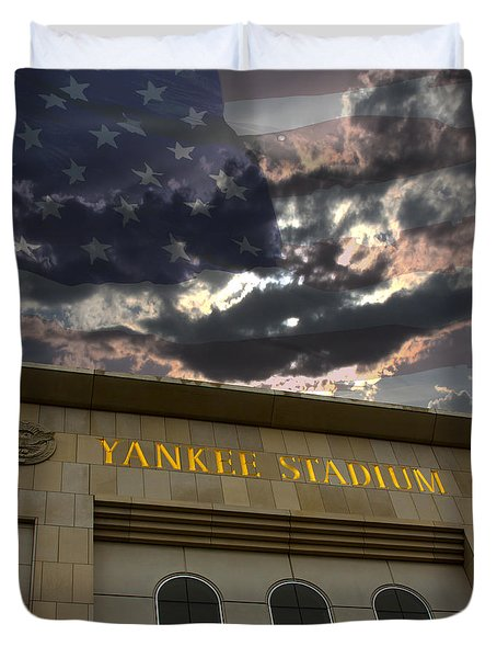 Yankee Stadium Ny Duvet Cover by Chris Thomas