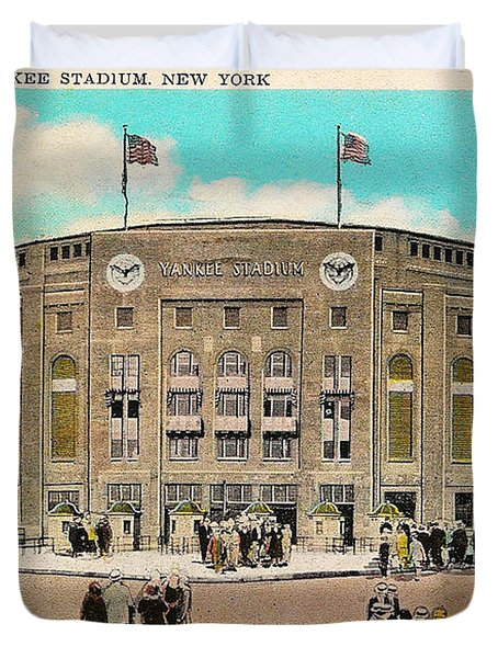 Yankee Stadium Postcard Duvet Cover by Bill Cannon