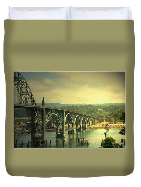 Yaquina Bay Bridge Or Duvet Cover by Joyce Dickens