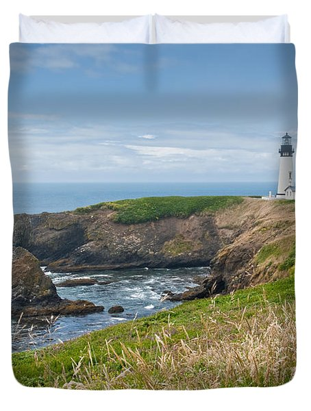 Yaquina Head Lighthouse Duvet Cover by Jeff Goulden