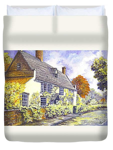 Duvet Cover featuring the painting Ye Olde Country Inn Charm by Carol Wisniewski