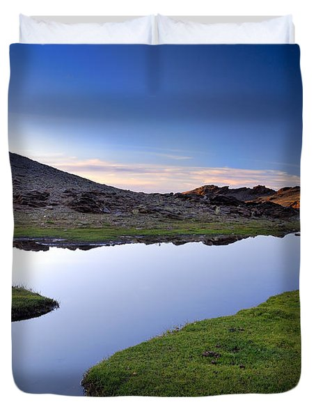 Yeguas Lake At Sunset Duvet Cover by Guido Montanes Castillo