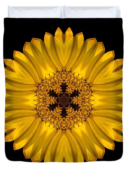 Yellow African Daisy Flower Mandala Duvet Cover