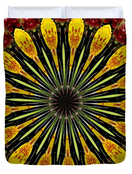 Yellow And Apricot Orchids Kaleidoscope Duvet Cover by Rose Santuci-Sofranko