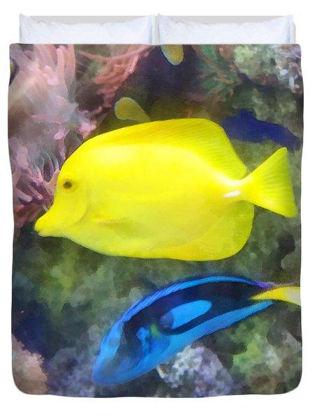 Yellow And Blue Tang Fish Duvet Cover by Susan Savad