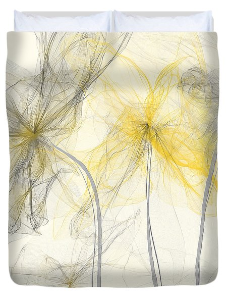 Yellow And Gray Flowers Impressionist Duvet Cover by Lourry Legarde