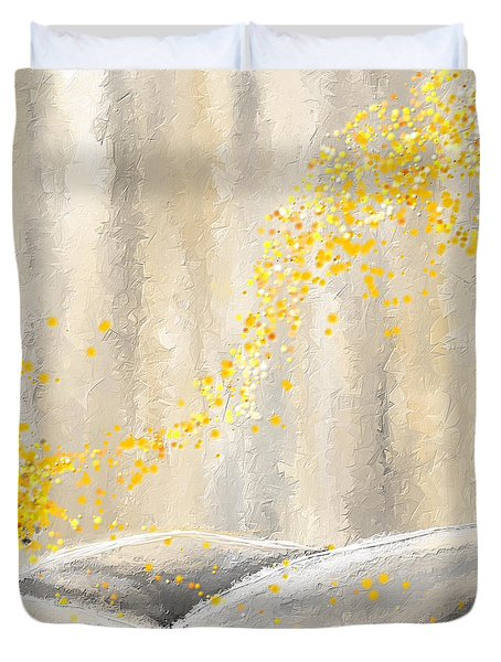 Yellow And Gray Landscape Duvet Cover by Lourry Legarde