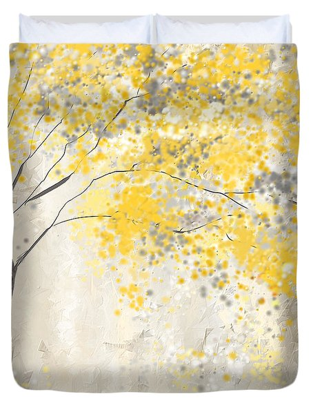 Yellow And Gray Tree Duvet Cover by Lourry Legarde