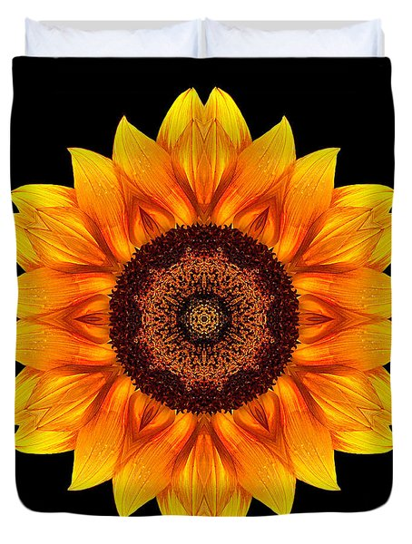 Yellow And Orange Sunflower Vi Flower Mandala Duvet Cover