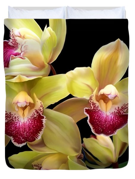 Yellow And Pink Orchids Duvet Cover