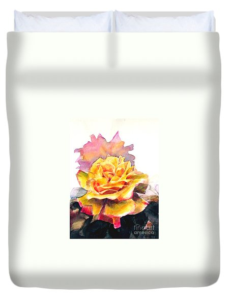 Duvet Cover featuring the painting Yellow Rose Fringed In Red by Greta Corens