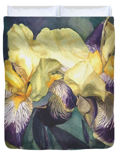 Watercolor Of A Tall Bearded Iris Painted In Yellow With Purple Veins Duvet Cover