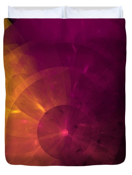 Yellow And Purple Umbrella Top Abstract  Duvet Cover by Andee Design