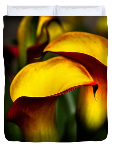 Yellow And Red Calla Lily Duvet Cover by Menachem Ganon