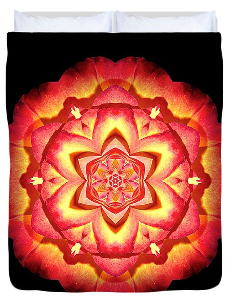 Yellow And Red Rose II Flower Mandalaflower Mandala Duvet Cover