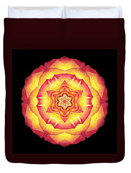 Yellow And Red Rose IIi Flower Mandala Duvet Cover