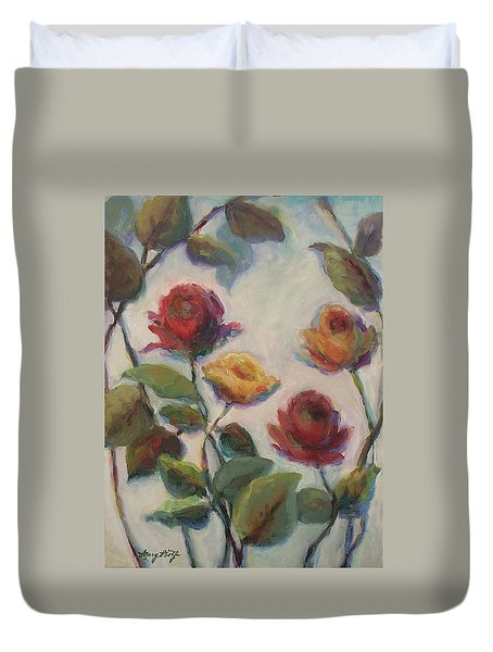 Yellow And Red Roses  Duvet Cover by Mary Wolf