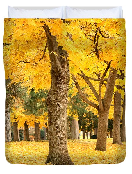 Yellow Autumn Wonderland Duvet Cover by Carol Groenen