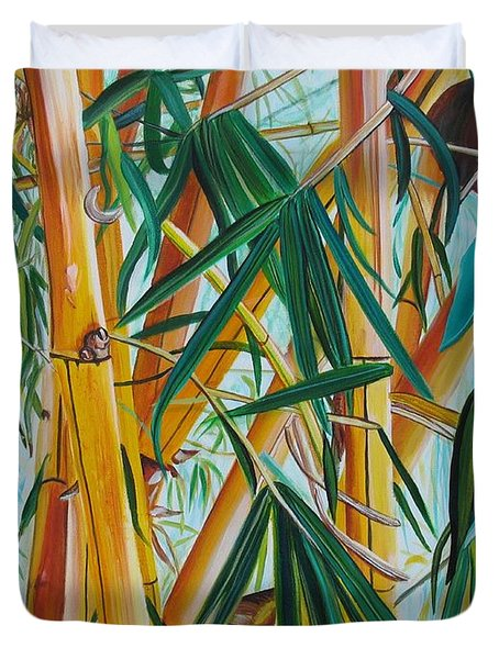 Duvet Cover featuring the painting Yellow Bamboo by Marionette Taboniar