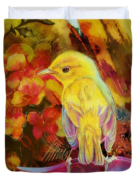 Yellow Bird Duvet Cover by Catf