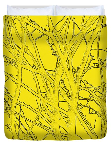 Yellow Branches Duvet Cover by Carol Lynch