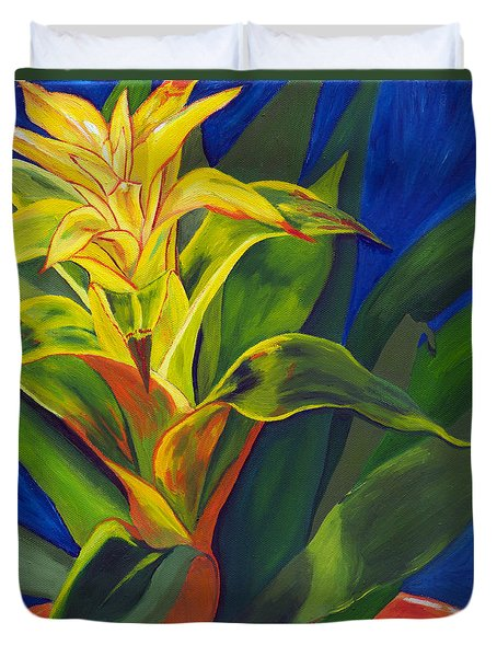 Yellow Bromeliad Duvet Cover