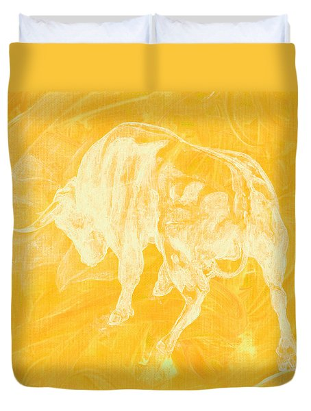 Yellow Bull Negative Duvet Cover