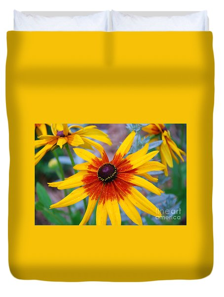 Duvet Cover featuring the photograph Yellow Burst by Allen Beatty
