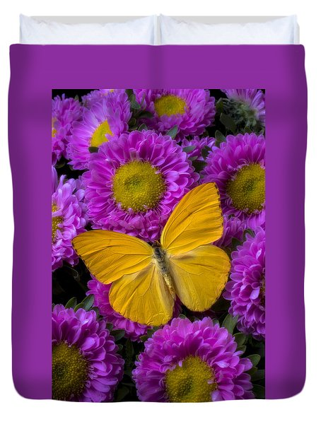 Yellow Butterfly And Pink Flowers Duvet Cover by Garry Gay