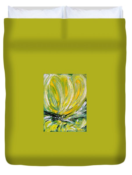 Yellow Butterfly Duvet Cover by Jasna Dragun