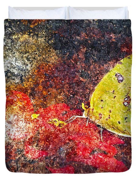 Yellow Butterfly Duvet Cover by Ken Frischkorn