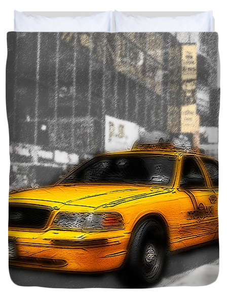 Yellow Cab At The Times Square -comic Duvet Cover by Hannes Cmarits