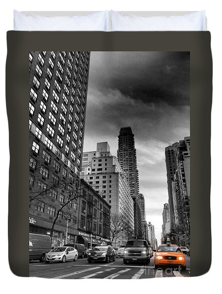 Yellow Cab One - New York City Street Scene Duvet Cover