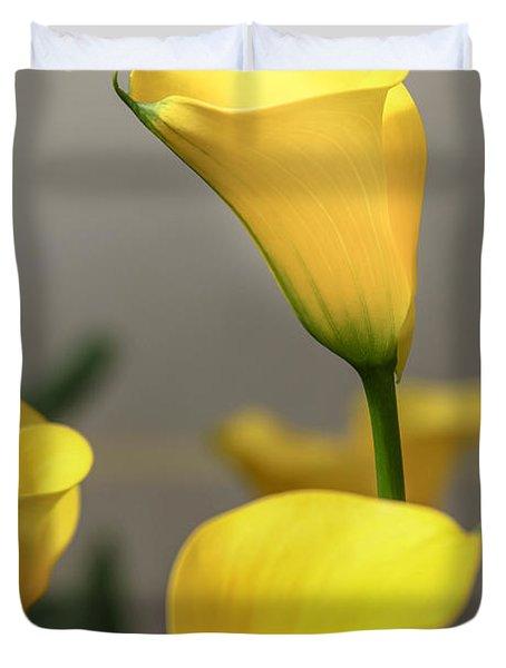 Yellow Calla Lilies Duvet Cover by Menachem Ganon