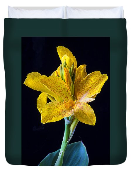 Yellow Canna Flower Duvet Cover by Garry Gay