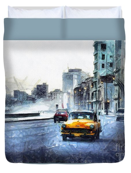 Yellow Car Duvet Cover
