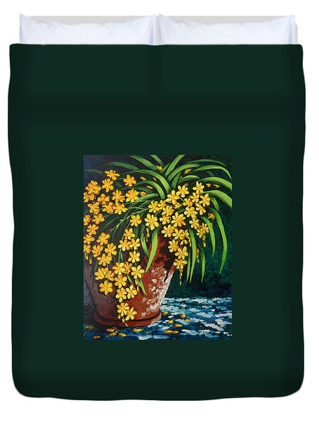 Duvet Cover featuring the painting Yellow Cascade by Katherine Young-Beck