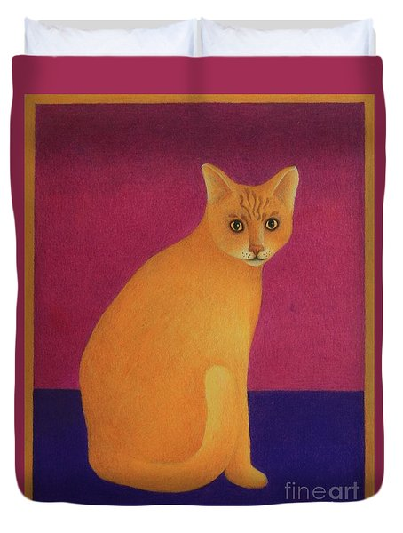 Duvet Cover featuring the painting Yellow Cat by Pamela Clements