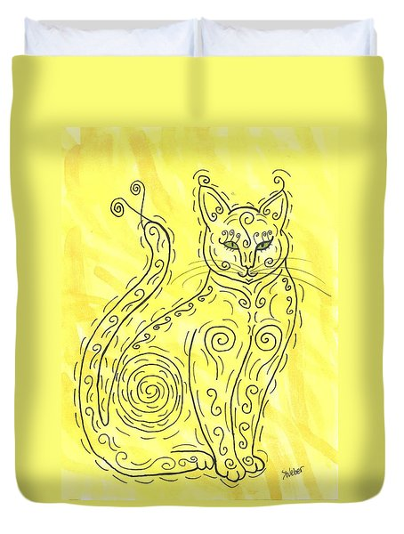 Duvet Cover featuring the painting Yellow Cat Squiggle by Susie Weber