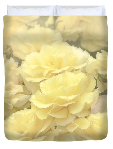 Yellow Chiffon Rose Garden Duvet Cover