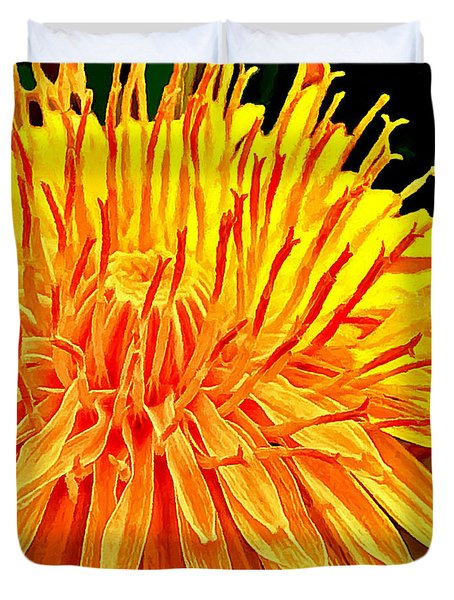 Yellow Chrysanthemum Painting Duvet Cover by Bob and Nadine Johnston