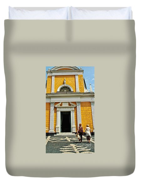 Duvet Cover featuring the photograph Yellow Church by Allen Beatty