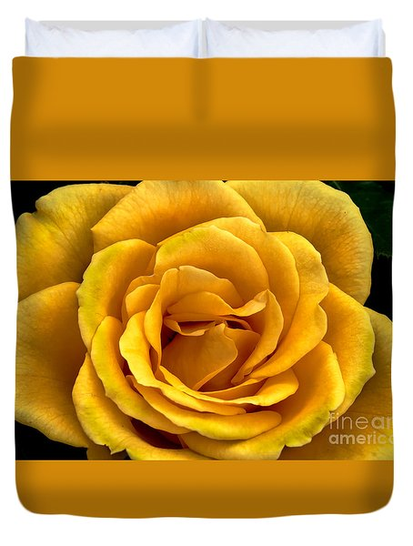 Yellow Close-up Duvet Cover by Robert Bales