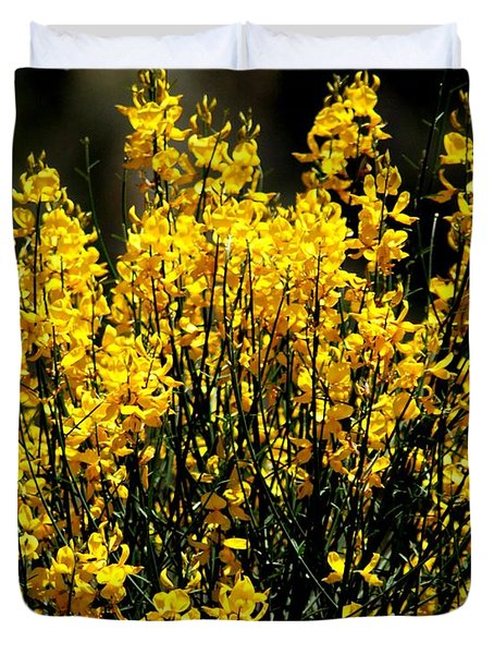 Duvet Cover featuring the photograph Yellow Cluster Flowers by Matt Harang