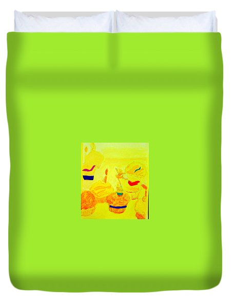Yellow Cupcakes Duvet Cover by Suzanne Berthier