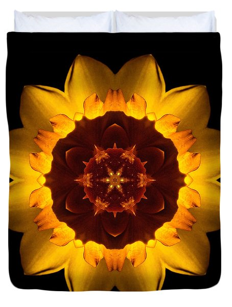 Yellow Daffodil I Flower Mandala Duvet Cover