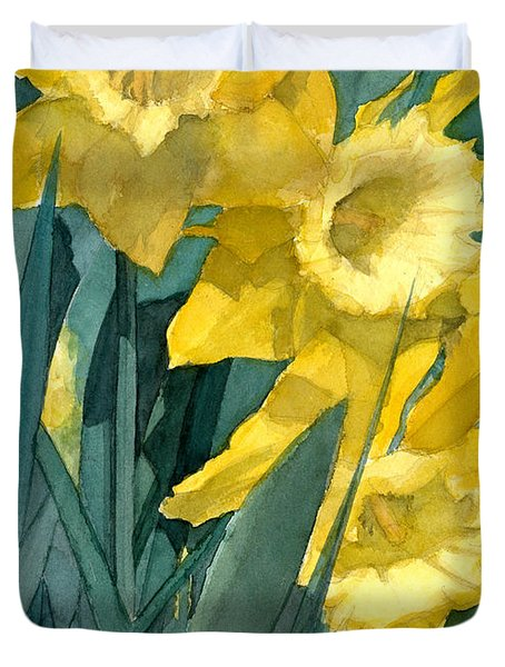Watercolor Painting Of Blooming Yellow Daffodils Duvet Cover