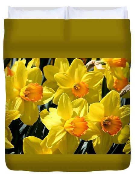 Yellow Daffodils Duvet Cover by Menachem Ganon